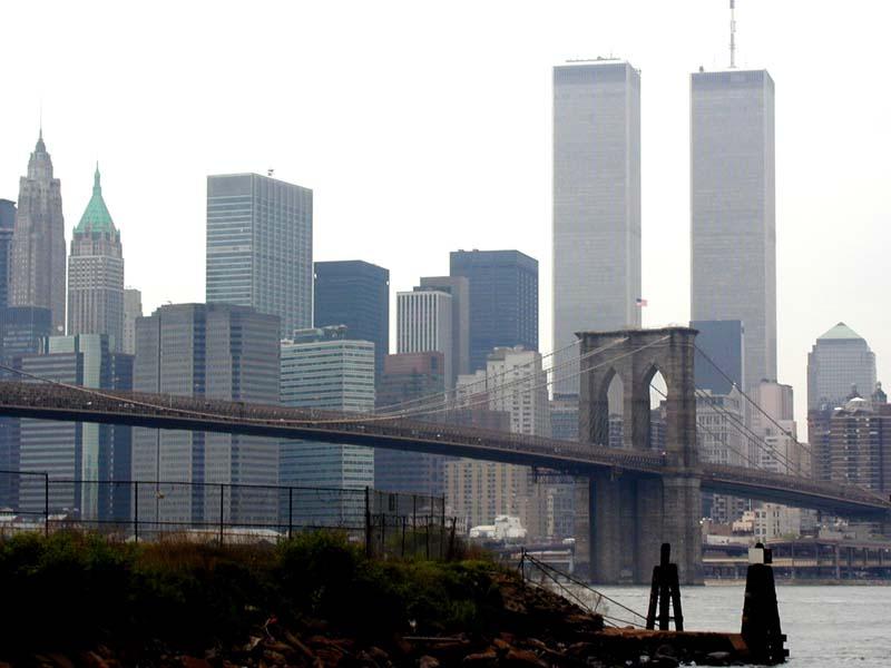 Brooklyn bridge and world trade center