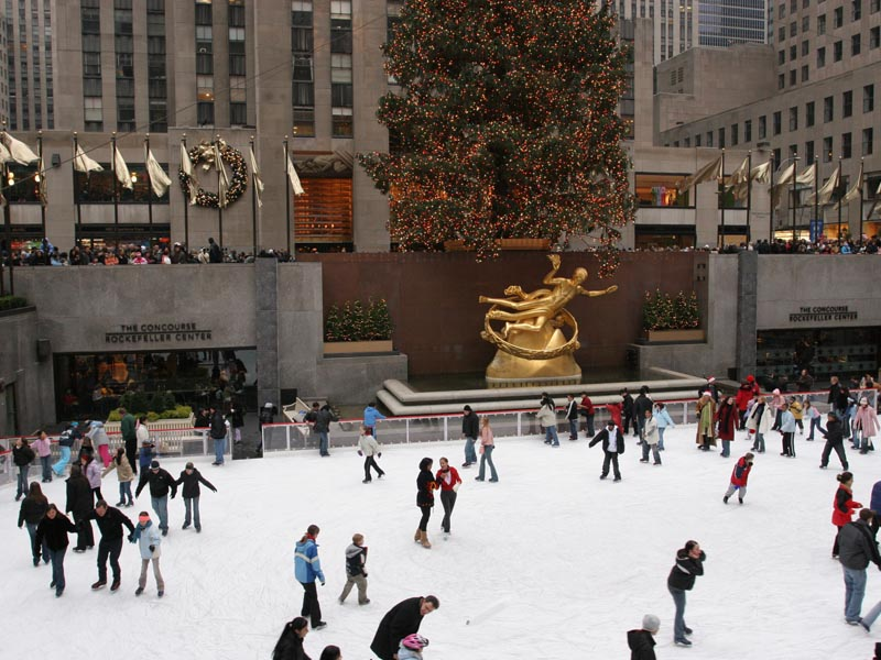 Skating at rockefeller center rink december 2004