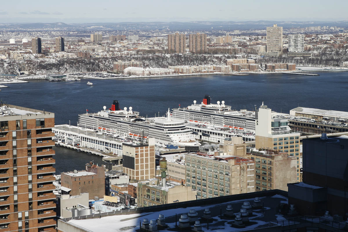 Cunard's Queen Elizabeth and Queen Victoria at Manhattan Cruise Terminal